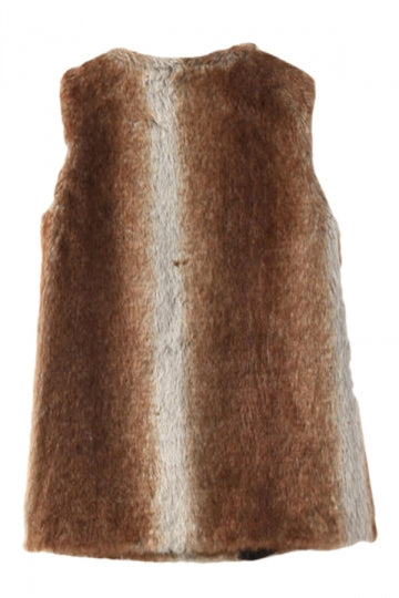 Coffee Pretty Ladies Warm Hooded Faux Fur Vest