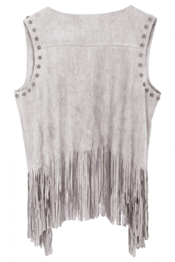 Gray Modern Ladies Plain Fringe Suede Rivet Vest