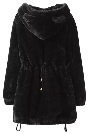 Black Stylish Winter Womens Tunic Warm Quilted Coat