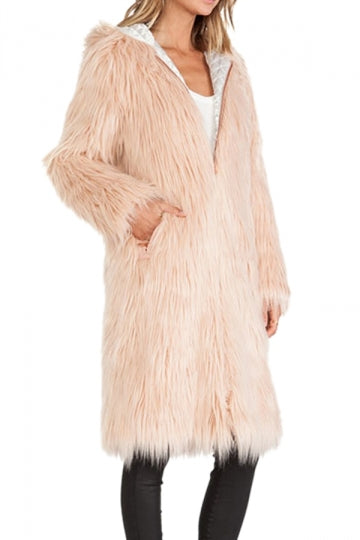 Beige Womens Warm Winter Faux Fur Zipper Hooded Coat