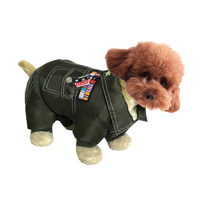 Green Autumn and winter pet clothes thickening warm general uniform dog costume
