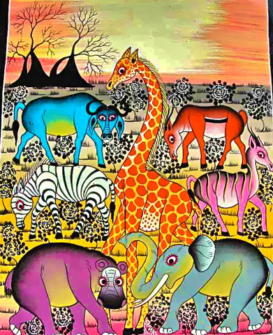 Tingatinga art showcases cartoon animal paintings.