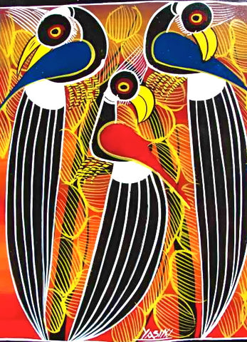 Tingatinga art featuring birds of East Africa.
