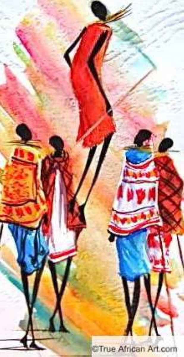 African Artist Albert Lizah paints a ceremony of the Maasai Tribe