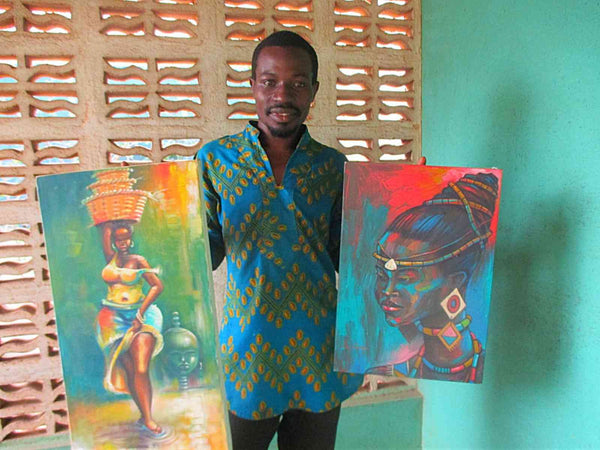 Two beautiful African art paintings by Ghanaian artist, Amakai.