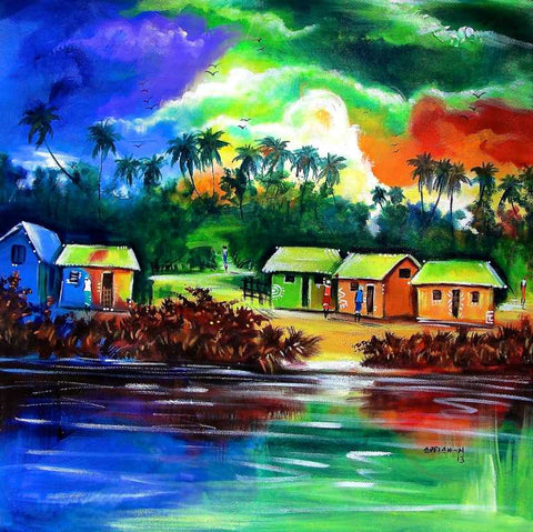 Between Morning and Evening African Village Painting