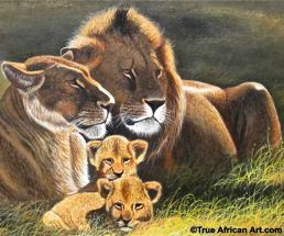 African Painting Artist Wycliffe Ndwiga -Close up of Lion Family