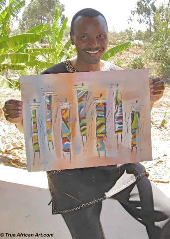 African Artist Stephen Njenga with one of his paintings