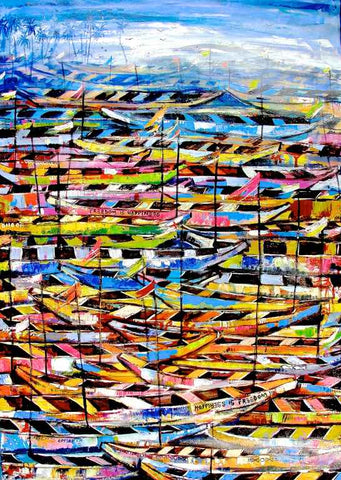 Boats Abound | Ghanaian Artist Appiah Ntiaw | True African Art .com