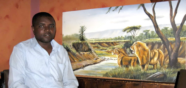 Chagwi paints a variety of subjects on canvas and is known for his realism in art.