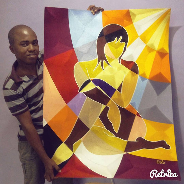 Solomon Yeboah with his silk thread artwork