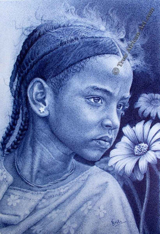 Enam Bosokah draws solely with a Bic Pen and Paper.