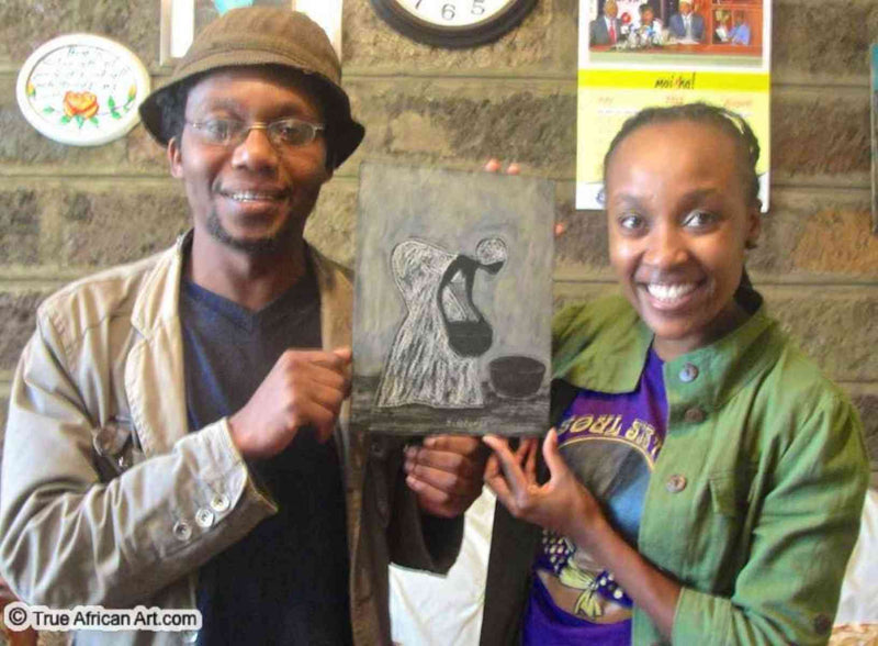 Kenyan Artist John Ndungu with Website Owner, Gathinja Yamokoski