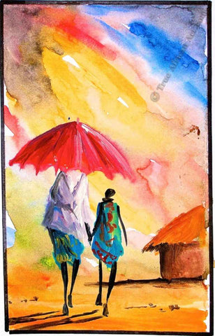 Watercolors showing a rainy day in Kenya