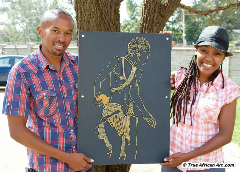 "Gold wire painting ""Woman of Gold"" 