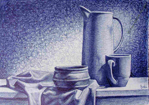 Still Life Bic Pen Drawing by Enam Bosokah