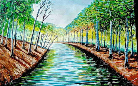 Landscape River Water Painting by Kenyan Evans Yegon