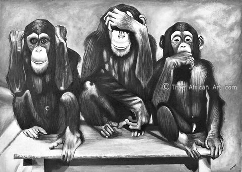 The Three Monkeys - Funny black and white painting by Francis Sampson