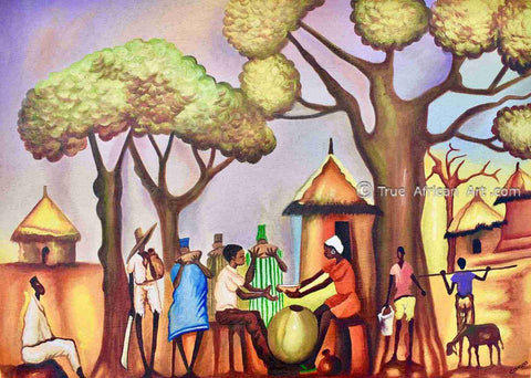 A daily scene in West Africa painted by Ghanaian Francis Sampson.