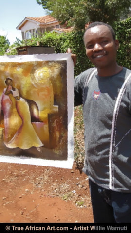 Willie Wamuti with a now sold painting.