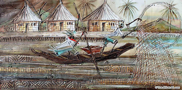 Paul Gbolade Omidiran  |  Nigeria  |  Fishing Village  |  Original and Print  |  True African Art .com