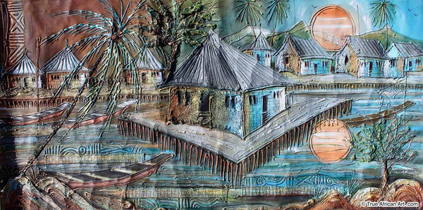 Paul Gbolade Omidiran  |  Nigeria  |  Riverine Village  |  Original and Print  |  True African Art .com