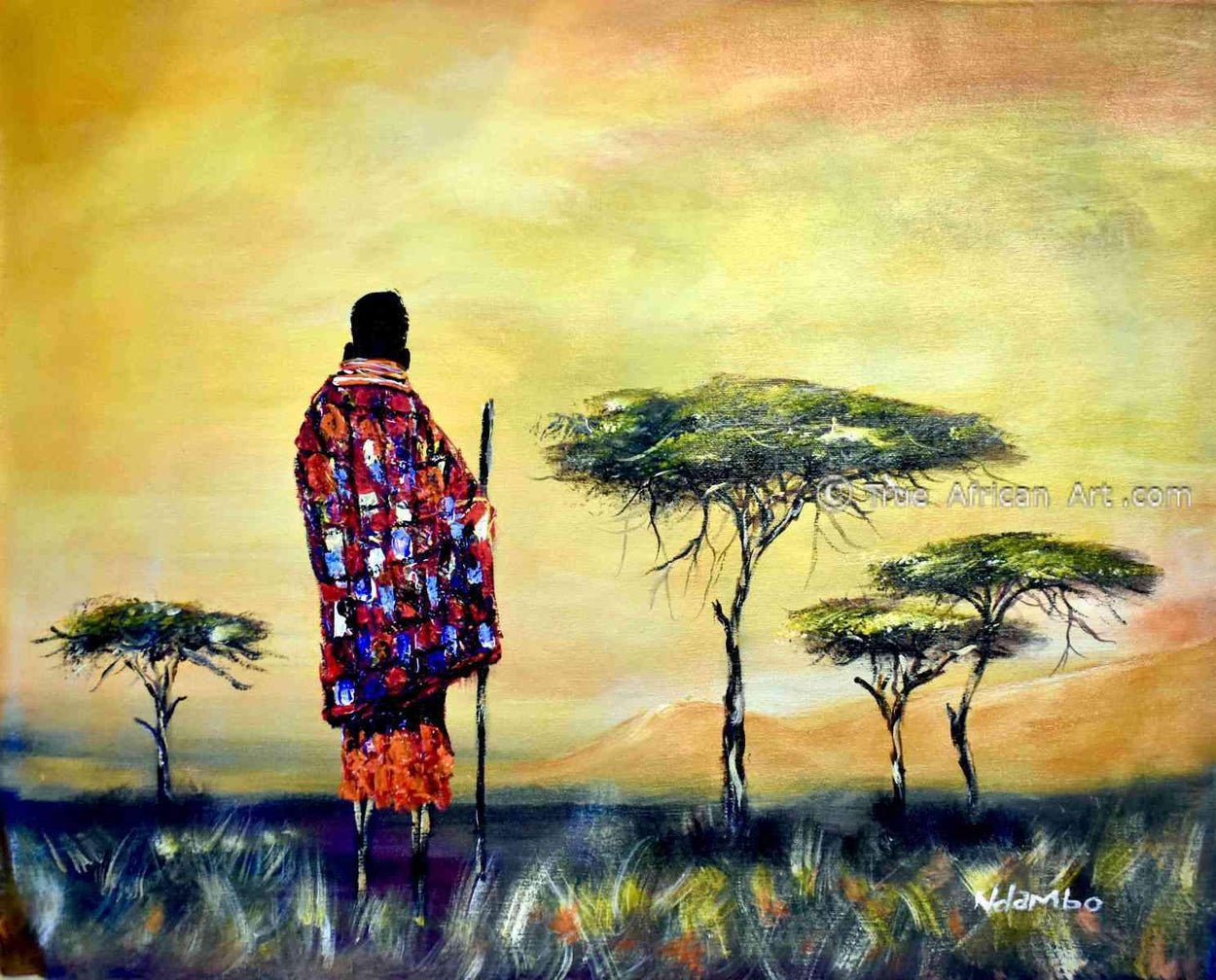 African Art Paintings by John Ndambo  |  Kenya  |  True African Art .com