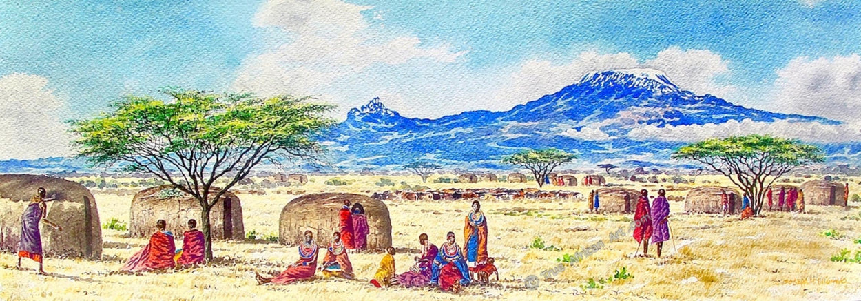 A Day in the Village by Kenyan artist Joseph Thiongo | True African Art .com