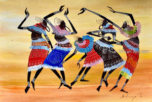 African Artist from Kenya, Martin Bulinya paints the Masai Tribe.