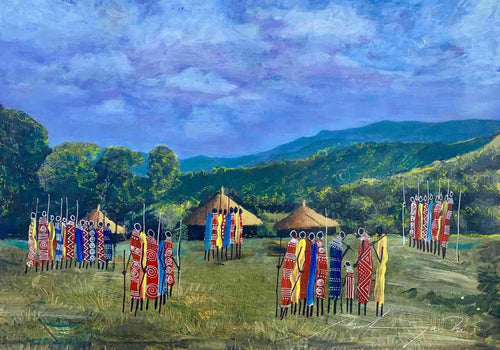 African Artist Martin Bulinya from Kenya paints the Maasai in their Village surroundings.