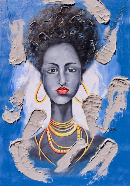 "Daniel Akortia  -  ""Beauty in Blue""  -  True African Art.com"