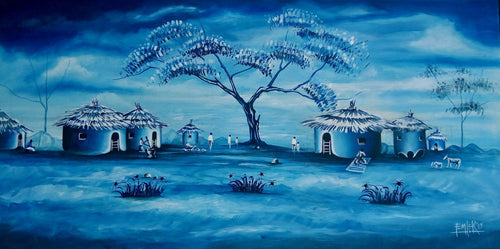 Femi  |  Nigeria  |  Blue Village  |  Original  |  True African Art .com