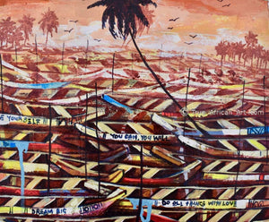 """Boats Abound 2"" - Appiah Ntiaw - True African Art .com"