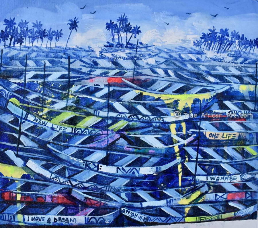 Appiah Ntiaw - Boats at Twilight