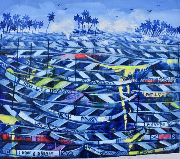 """Boats at Twilight"" - Appiah Ntiaw - True African Art .com"