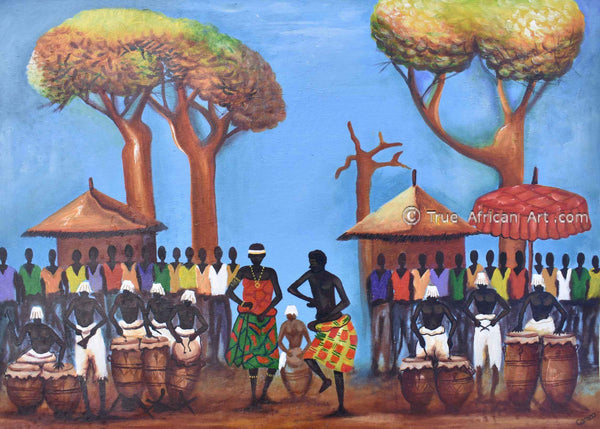 Francis Sampson  |  Ghana  |  Celebration Drumming - Blue  |  Print  |  True African Art .com