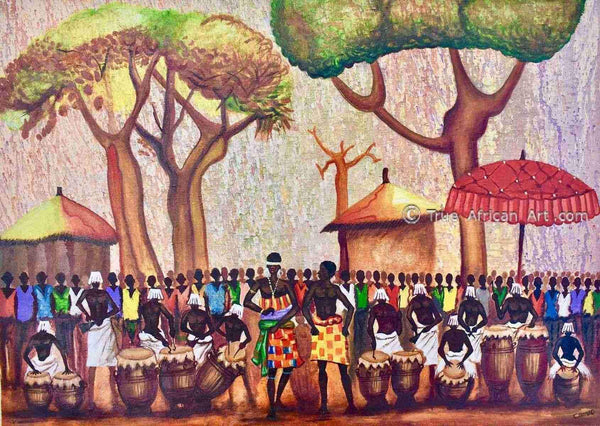 Francis Sampson | Celebration Drumming - Red | True African Art .com