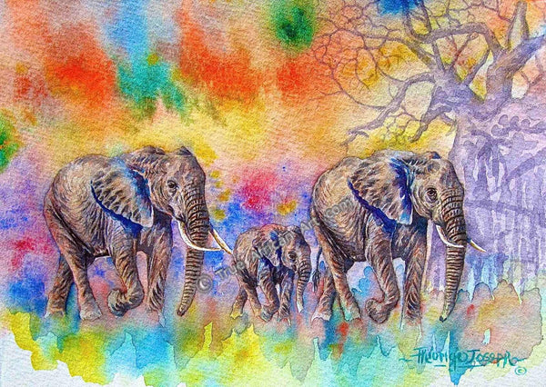 Elephants walking against a semi-abstract background | Artist Joseph Thiongo