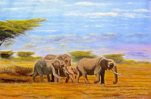 Wycliffe Ndwiga  |  Kenya  |  Elephants Walking  |  Print  |  True African Art .com