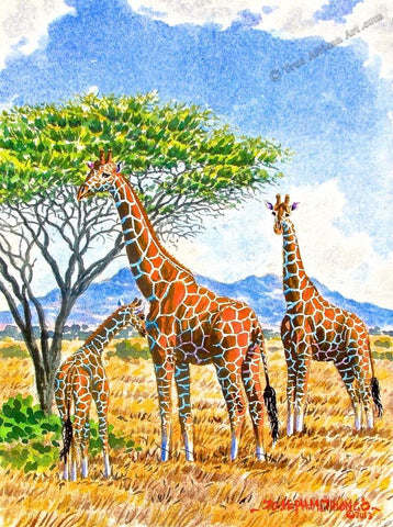 Painting of giraffes in Africa.