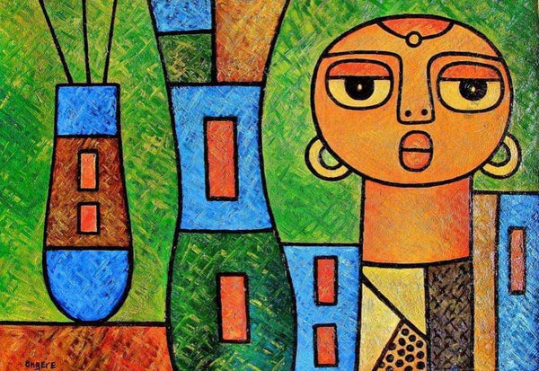 "Elisha Ongere  |  ""Girl with Vases""  