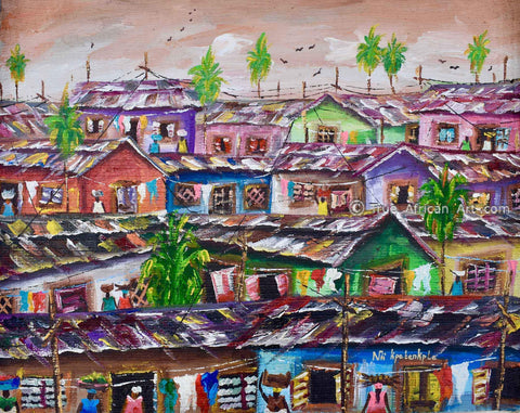 Nii Samuel from Ghana paints urban and ocean scenes.