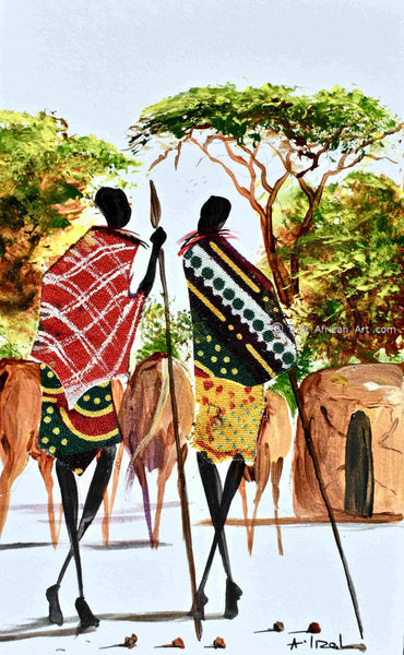 Maasai artist Albert Lizah paints for True African Art