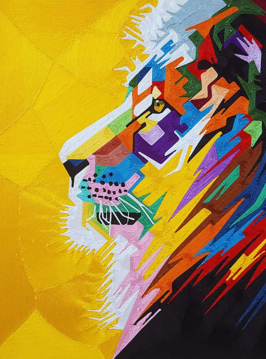 Yeb - Silk Thread Art - King Lion