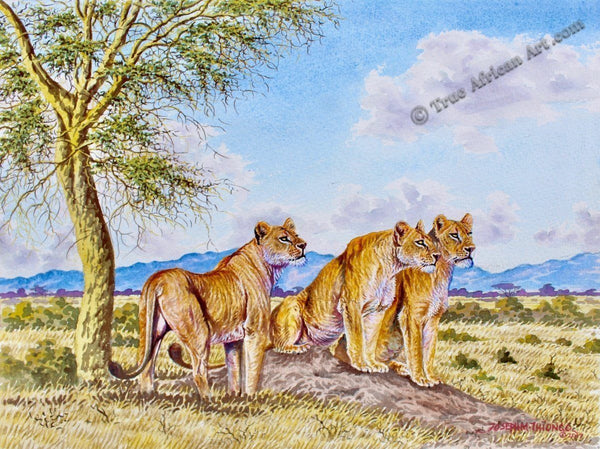 "Joseph Thiongo  -  ""Lion Pack""  -  True African Art.com"