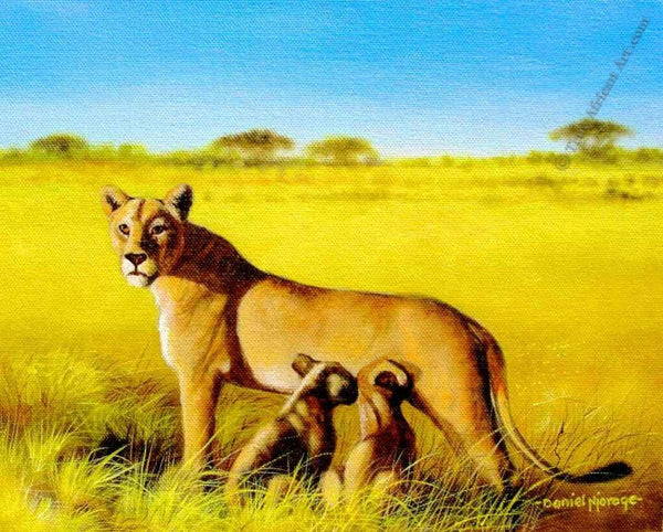 "Many Artists  -  ""Lioness Care""  -  True African Art.com"