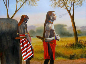 Wycliffe Ndwiga  |  Kenya  |  Men of the Maasai  |  Print  |  True African Art .com