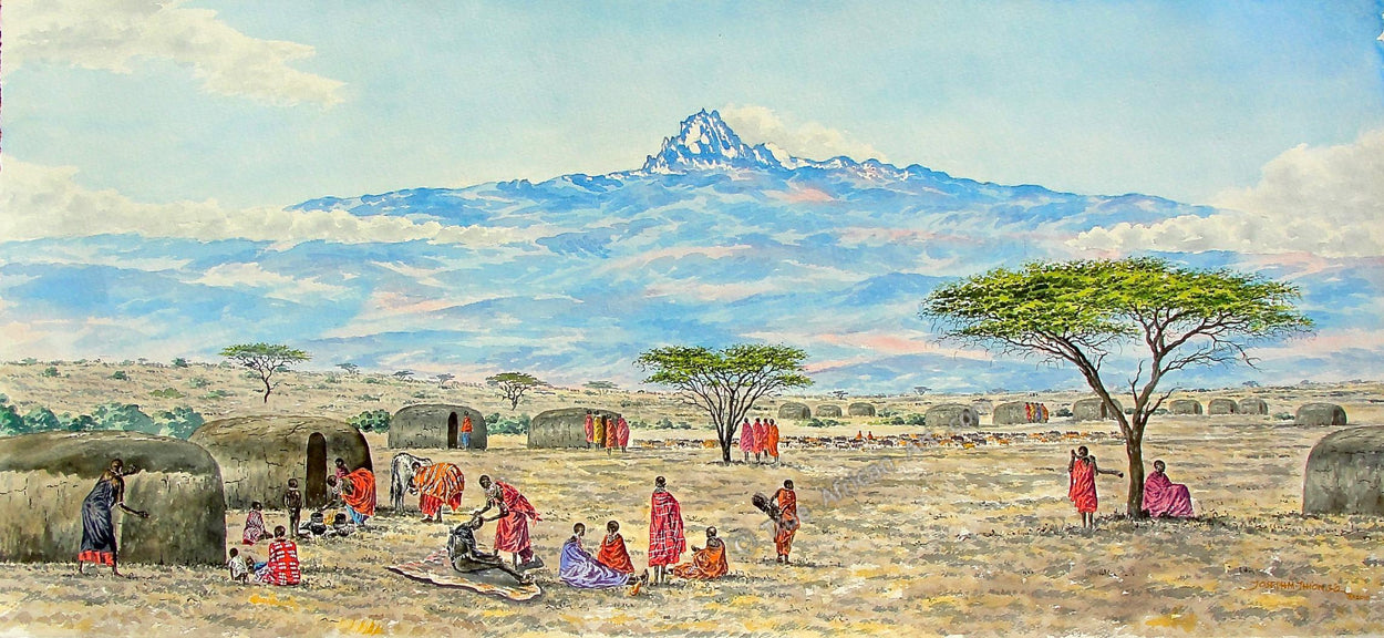 Joseph Thiongo | Mountain Village | True African Art .com