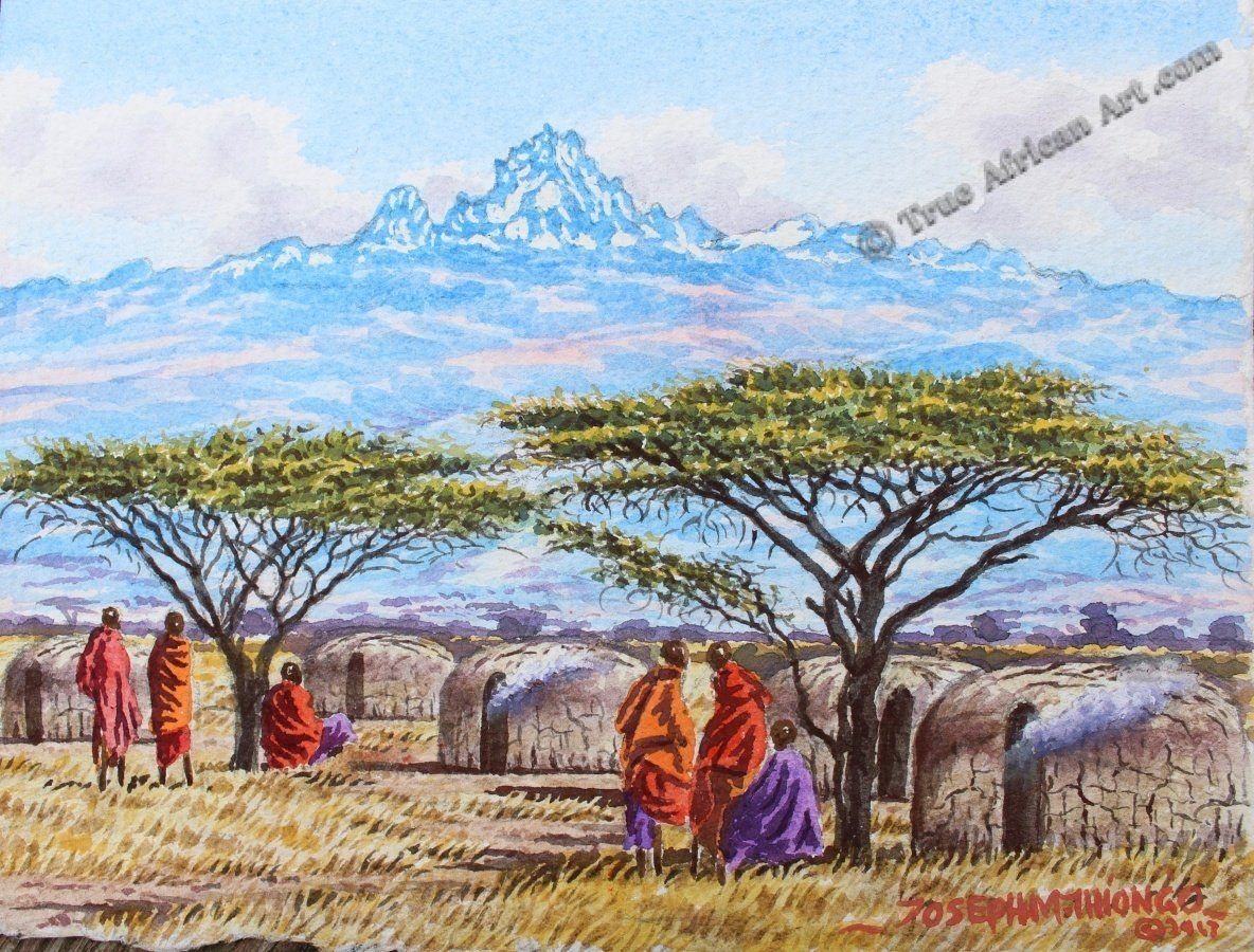 Mount Kenya with Maasai Village | Joseph Thiongo