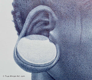 Close up of EarPlate, a common jewelry method made by specific tribes throughout Africa.